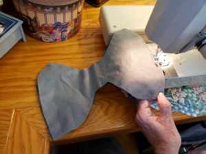 Top stitching the three layers of the MakerMask: Fit together