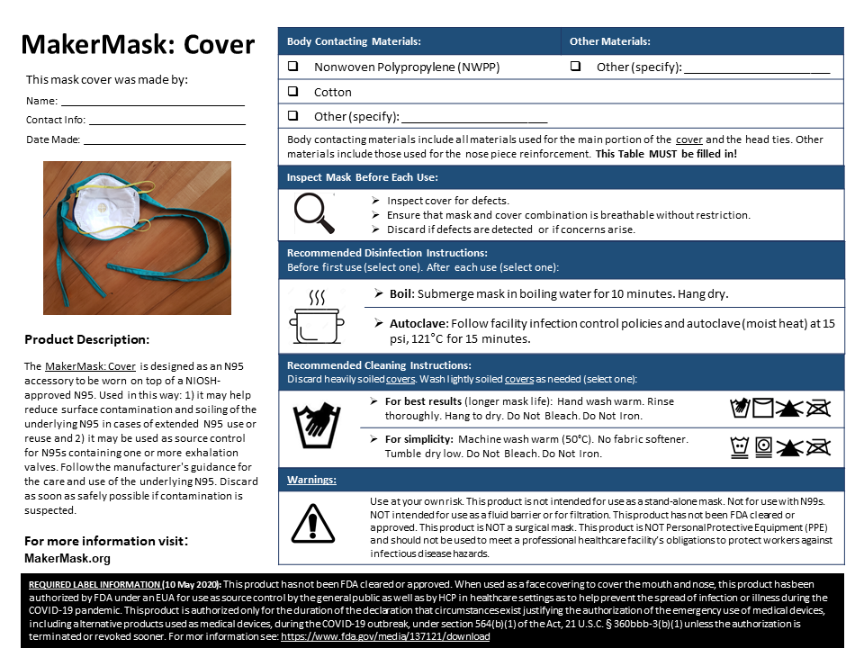 MakerMask: Cover User Label with Care and Use Instructions