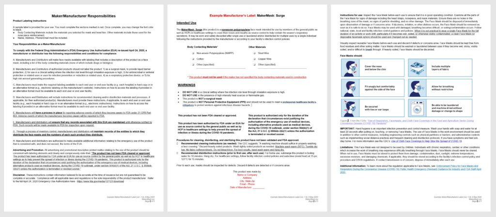 Maker Manufacturer Responsibilities and Face Mask Label for the Nonwoven Polypropylene MakerMask: Surge