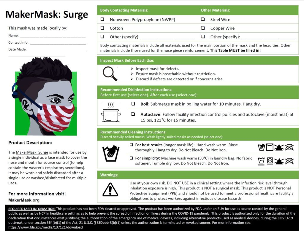 Label Me A Face Mask Fda Labeling Requirements Makermask