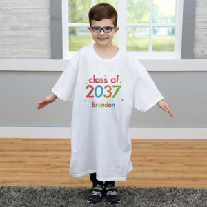 Child wearing oversized t-shirt