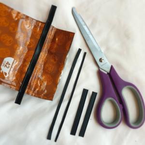 Coffee bag, scissors, and bag closures for mask nose piece