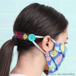 Masks for children: View of mask from back with button ear loop extender