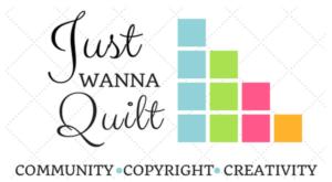 Logo: Just Wanna Quilt Podcast Logo