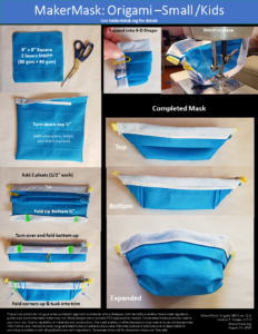 Slide with photos and instructions for the MakerMask: Origami Small/Kids (blue mask with white interior)