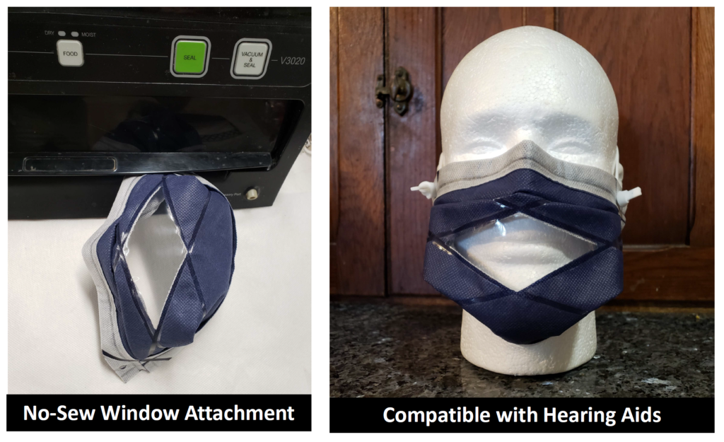 No sew window mask with heat sealed seams to attach the window to the mask