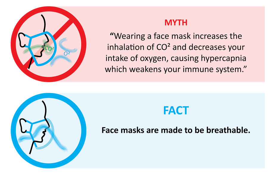 """Infographic - 2 Boxes. (box 1) Myth: """"Wearing a face mask increases the inhalation of CO2 and decreases your intake of oxygen, causing hypercapnia which weakens the immune system. (box 2) FACT, Face masks are made to be breathable."""