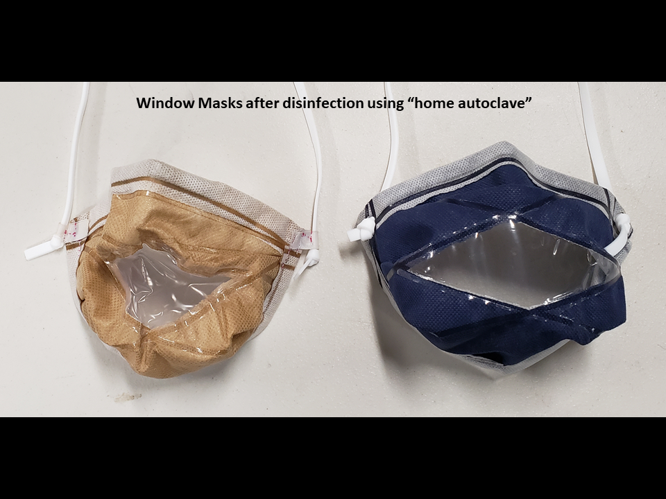 "Photo of window masks after ""home autoclaving""; left a window made from polyethylene (PE), which is shrunken and warped and (right) a polypropylene with no observable change"