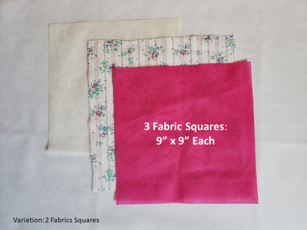 "Fabric Squares; 9"" by 9"""