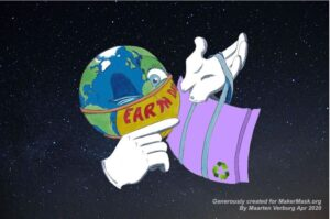 Illustration of the Earth wearing a mask and carrying a reusable nonwoven polypropylene bag