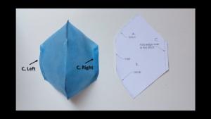 MakerMask: Cover, sew pattern in spunbond nonwoven polypropylene along side C on both sides