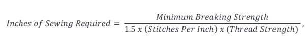 Equation for the number of inches of stitches required